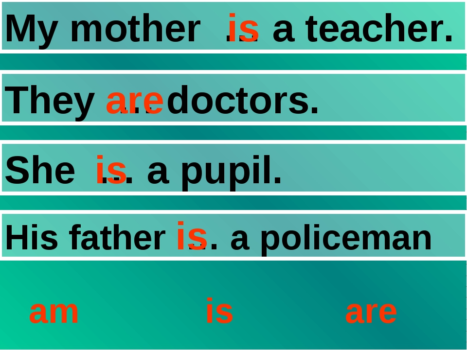 My mother … a teacher. They … doctors. She … a pupil. His father … a policema...