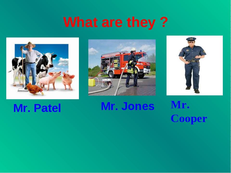 What are they ? Mr. Patel Mr. Jones Mr. Cooper