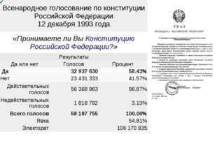 Всенародное голосование по конституции Российской Федерации 12 декабря 1993