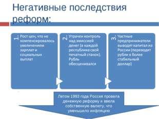 Негативные последствия реформ: Летом 1993 года Россия провела денежную реформ