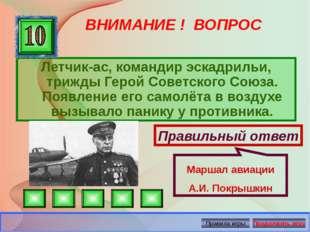 ВНИМАНИЕ ! ВОПРОС Летчик-ас, командир эскадрильи, трижды Герой Советского Сою