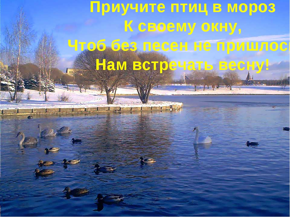 Приучите птиц вмороз Ксвоему окну, Чтоб без песен непришлось Нам встречать...