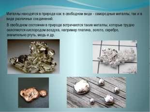 Металлы находятся в природе как в свободном виде - самородные металлы, так и
