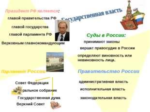 Президент РФ является: главой государства главой правительства РФ главой парл