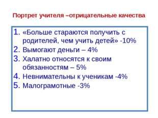 Портрет учителя «Делают свое дело за гроши»-13% «Нищенское существование у ни