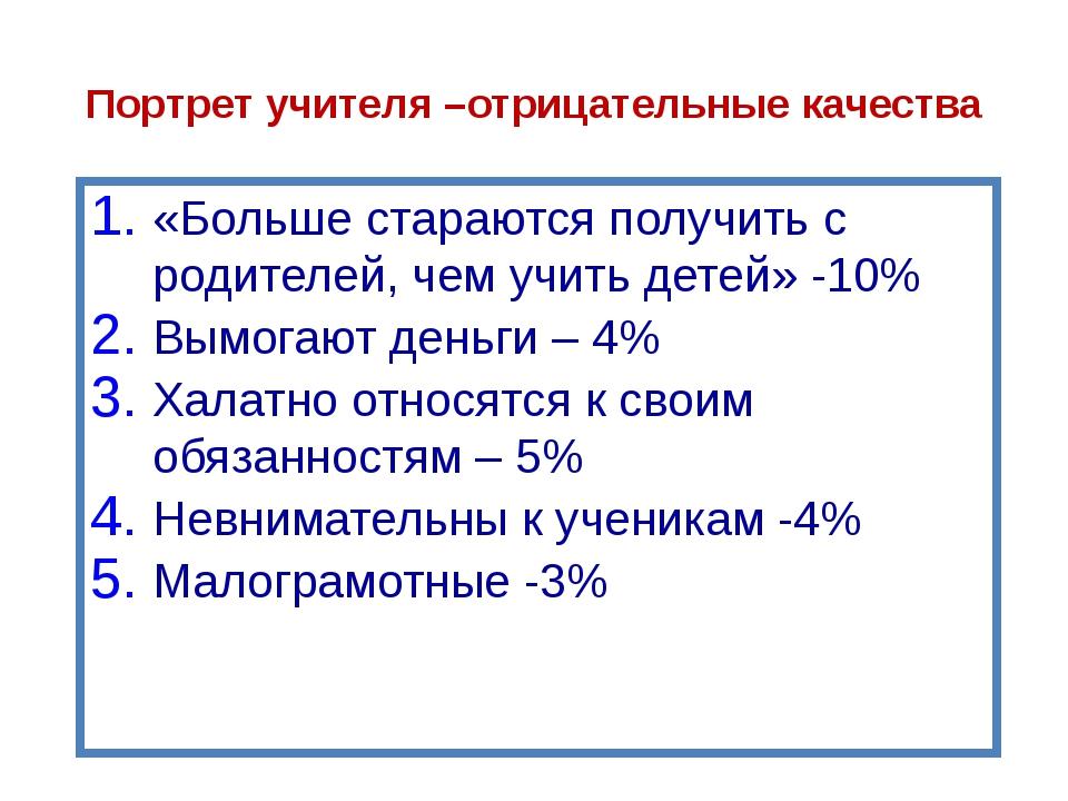 Портрет учителя «Делают свое дело за гроши»-13% «Нищенское существование у ни...