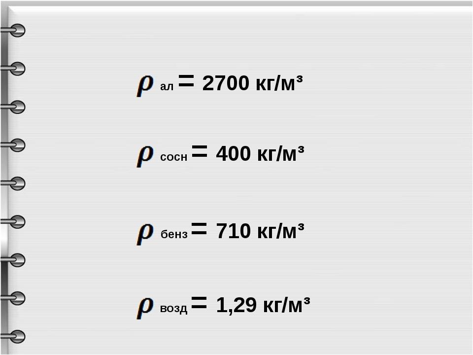 ал = 2700 кг/м³ сосн = 400 кг/м³ бенз = 710 кг/м³ возд = 1,29 кг/м³