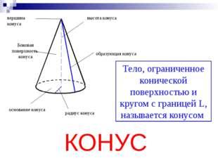 вершина конуса высота конуса основание конуса радиус конуса образующая конус