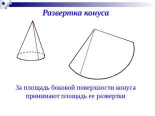 Развертка конуса За площадь боковой поверхности конуса принимают площадь ее р