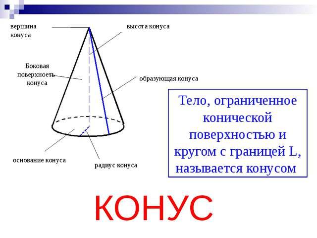 вершина конуса высота конуса основание конуса радиус конуса образующая конус...