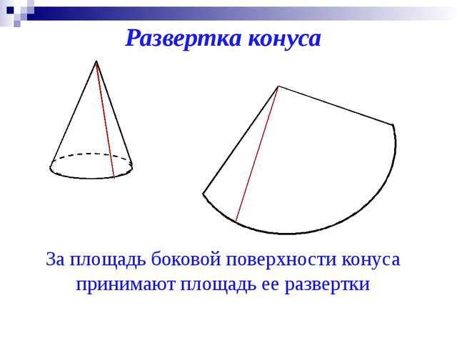 Развертка конуса За площадь боковой поверхности конуса принимают площадь ее р...