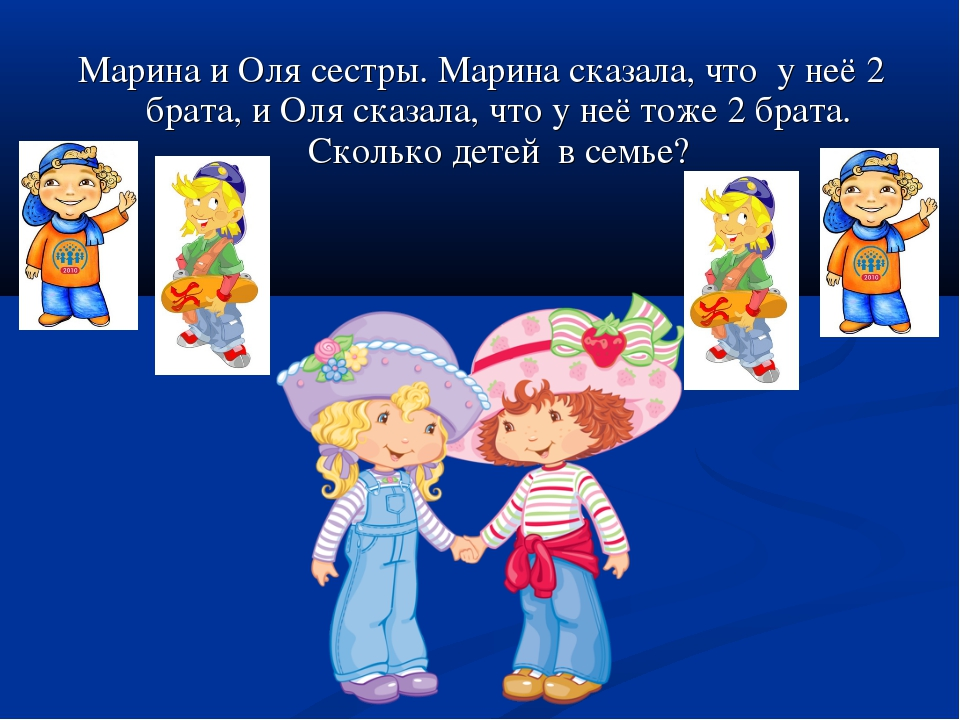 Марина и Оля сестры. Марина сказала, что у неё 2 брата, и Оля сказала, что у...