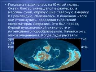 Гондвана надвинулась на Южный полюс. Океан Япетус уменьшался в размерах, а ма