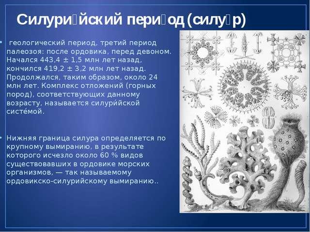Силури́йский пери́од (силу́р) геологический период, третий период палеозоя: п...