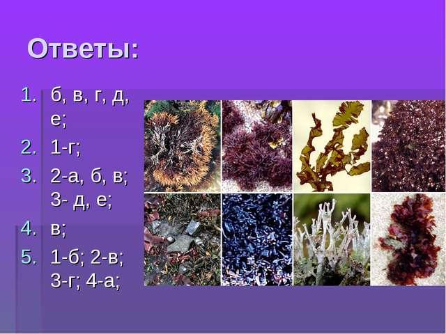 Ответы: б, в, г, д, е; 1-г; 2-а, б, в; 3- д, е; в; 1-б; 2-в; 3-г; 4-а;