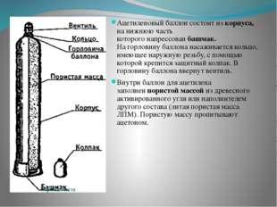 Ацетиленовый баллон состоит из корпуса, на нижнюю часть которого напрессован