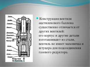 Конструкция вентиля ацетиленового баллона существенно отличается от других в