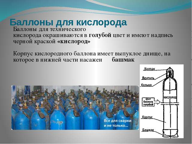 Баллоны для кислорода Баллоны для технического кислорода окрашиваются в голуб...