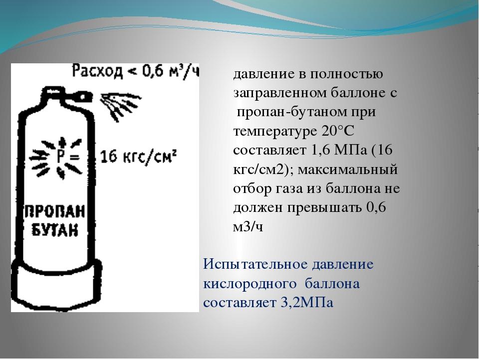 давление в полностью заправленном баллоне с пропан-бутаном при температуре 2...