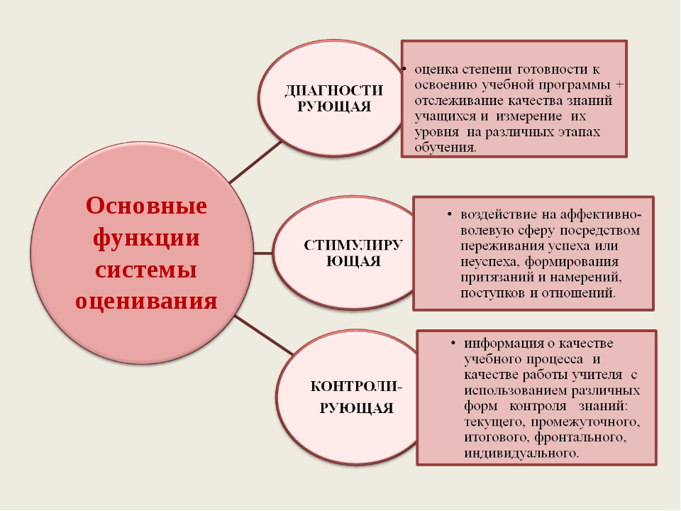 Основные функции системы оценивания