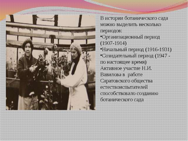 В истории ботанического сада можно выделить несколько периодов: Организационн...