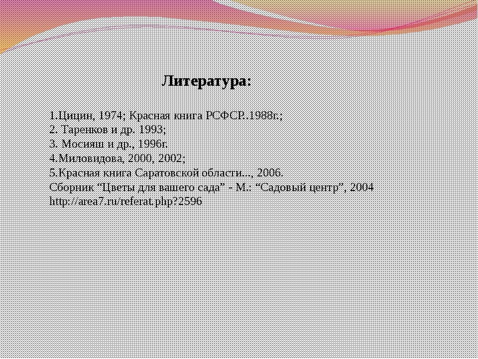 Литература: 1.Цицин, 1974; Красная книга РСФСР..1988г.; 2. Таренков и др. 199...