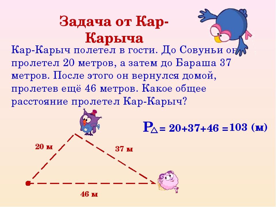 Задача от Кар-Карыча Кар-Карыч полетел в гости. До Совуньи он пролетел 20 мет...