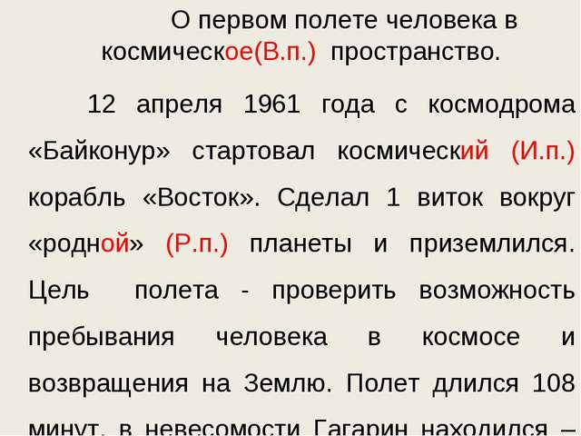 О первом полете человека в космическое(В.п.) пространство. 12 апреля 1961 го...