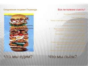 Что мы едим? Что мы пьём? Ежедневная пищевая Пирамида Все ли полезно съесть?
