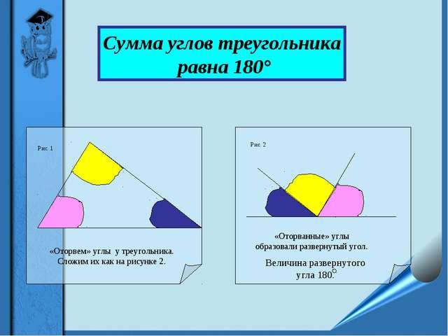 «Оторвем» углы у треугольника. Сложим их как на рисунке 2. «Оторванные» углы...