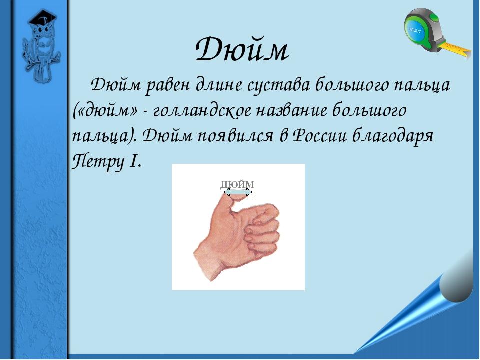 Дюйм Дюйм равен длине сустава большого пальца («дюйм» - голландское название...
