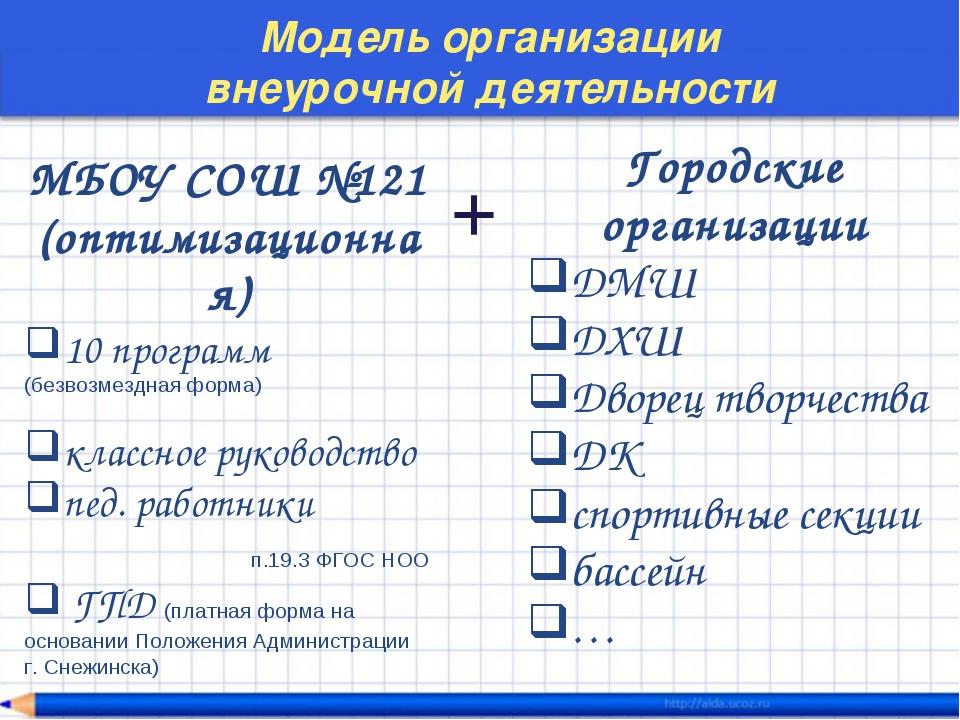 Модель организации внеурочной деятельности МБОУ СОШ №121 (оптимизационная) 10...