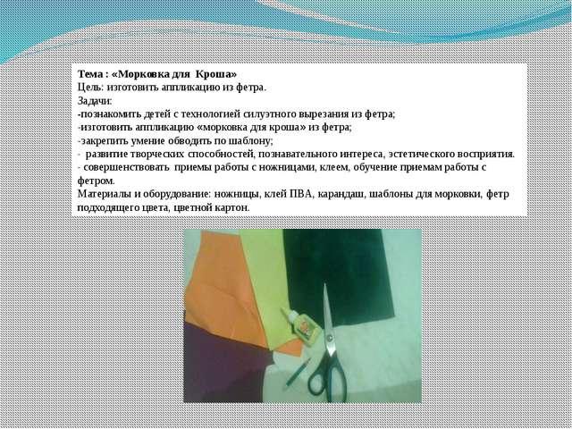 Тема : «Морковка для Кроша» Цель: изготовить аппликацию из фетра. Задачи: -по...