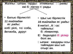 Жалпы қыпшақтардың этникалық құрамы екі бөліктен тұрады Батыс бірлестігі 11 т