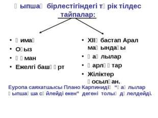 Қыпшақ бірлестігіндегі түрік тілдес тайпалар: Қимақ Оғыз Құман Ежелгі башқұрт