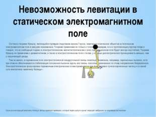 Невозможность левитации в статическом электромагнитном поле Согласно теореме