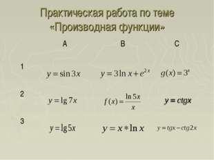 Практическая работа по теме «Производная функции» АВС 1  2 3