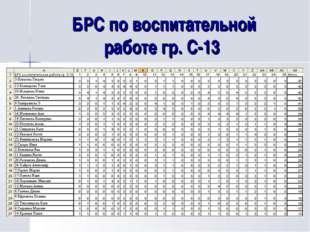 БРС по воспитательной работе гр. С-13