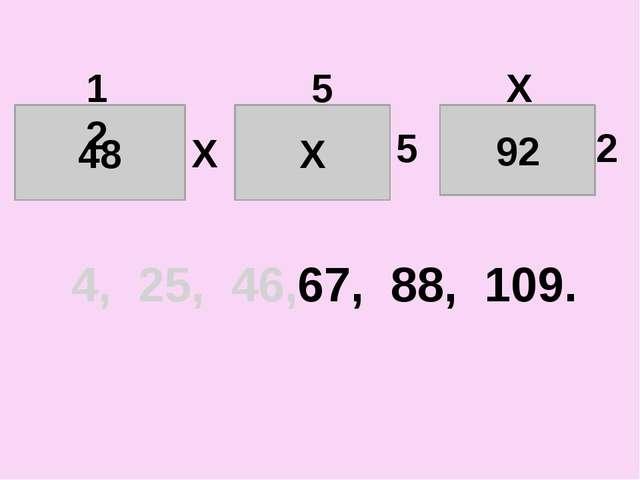 48 12 Х Х 5 5 92 Х 2 4, 25, 46, 67, 88, 109.