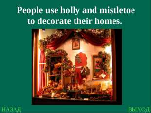 НАЗАД ВЫХОД People use holly and mistletoe to decorate their homes.