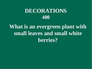 What is an evergreen plant with small leaves and small white berries? DECORA