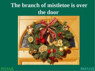 НАЗАД ВЫХОД The branch of mistletoe is over the door