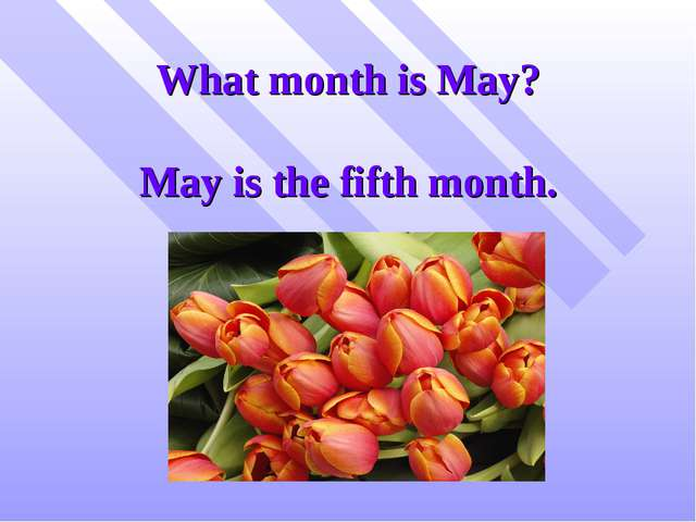 What month is May? May is the fifth month.