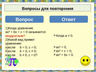 Вопросы для повторения Вопрос Ответ 1)Когда уравнение ах² + bх + с = 0 назыв