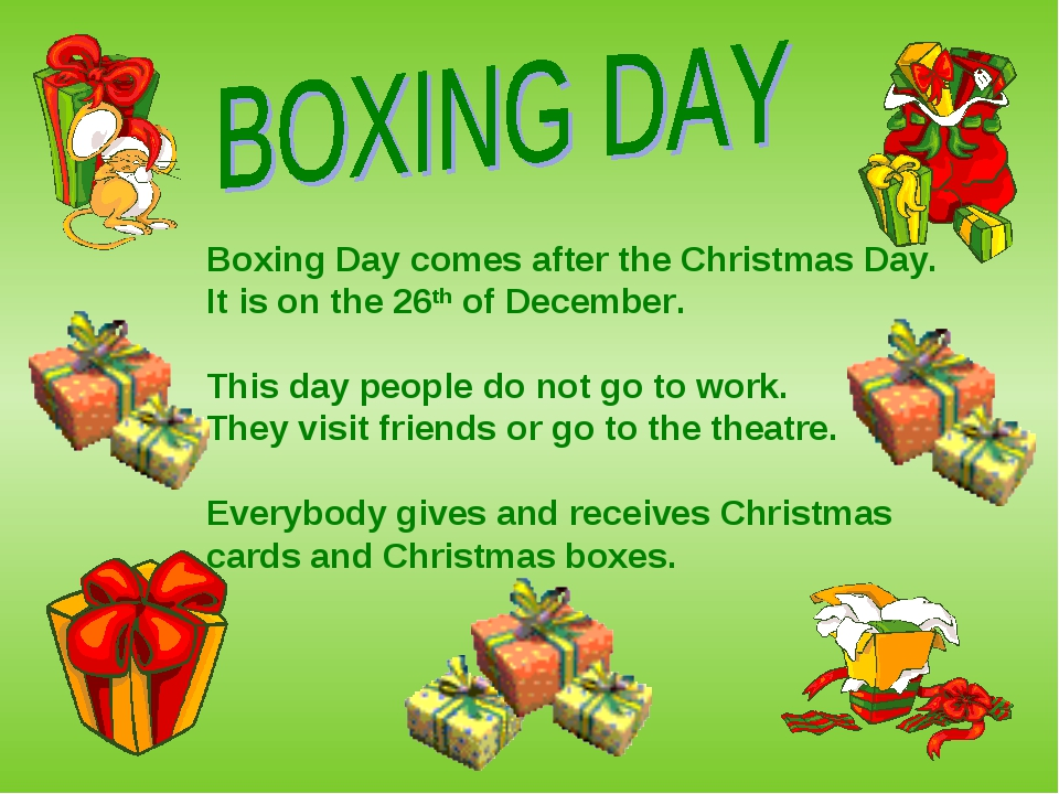 Boxing Day comes after the Christmas Day. It is on the 26th of December. This...