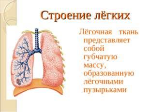 Строение лёгких Лёгочная ткань представляет собой губчатую массу, образованну