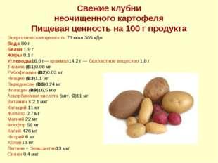 Свежие клубни неочищенного картофеля Пищевая ценность на 100 г продукта Энерг