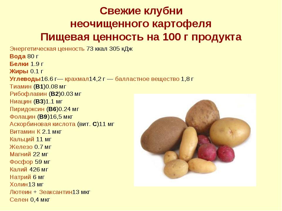 Свежие клубни неочищенного картофеля Пищевая ценность на 100 г продукта Энерг...