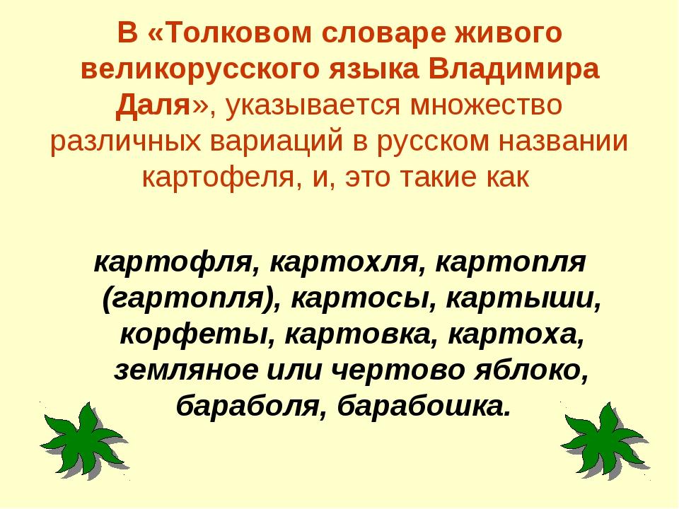 В «Толковом словаре живого великорусского языка Владимира Даля», указывается...