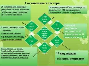 Составление кластера 10 заповедников -13место в мире по количеству +18 запове